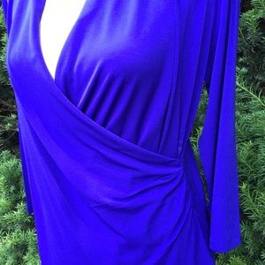 Royal blue chicos side ruched top.